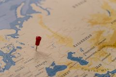 A pin on moscow, russia in the world map.  stock photos