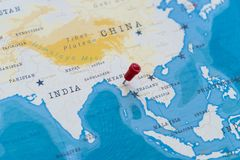 A pin on naypyitaw, Myanmar, Burma in the world map.  stock images