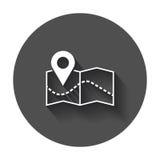 Pin no ícone do mapa Ilustração do vetor dos gps do mapa Imagens de Stock