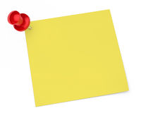 Pin notepaper. Red pin and notepaper on white background Stock Photo