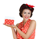 Pin p girl holding a gift box Stock Photos
