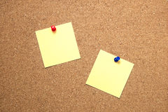 Pin paper on cork board Stock Image