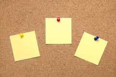 Pin paper on cork board Royalty Free Stock Images