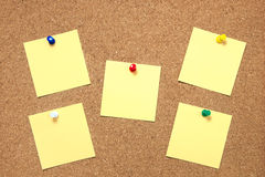 Pin paper on cork board Royalty Free Stock Photos