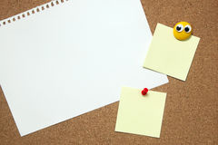 Pin paper on cork board Royalty Free Stock Photography