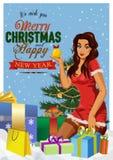 Pin-para arriba retro de la Navidad Ejemplo de una muchacha atractiva del perno-para arriba del día de fiesta del vintage stock de ilustración