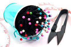 Pin pillow bucket with sewing accessory Stock Image