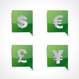 Pin pointer currency symbol signs illustration Stock Photos