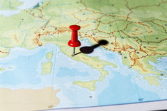 Pin pointing Rome Stock Image