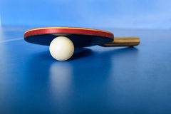 Pin pong ball and red paddle on blue board Stock Photos
