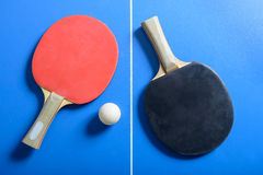 Pin pong ball and red paddle on blue board Royalty Free Stock Images