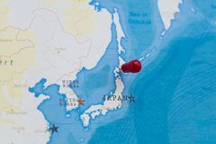 A pin on sapporo, japan in the world map.  royalty free stock photography