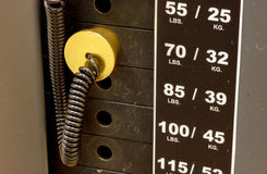 Pin,scale weightlifting  equipment background. Royalty Free Stock Image