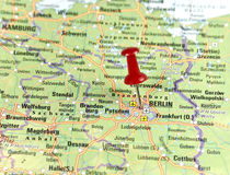 Pin set on Berlin. Map of Germany with pin set on Berlin Royalty Free Stock Photography