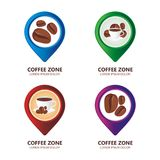 Pin set for Coffee cafe maps stock photos