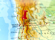 Pin set on Santiago. Map of Chile with pin set on Santiago Royalty Free Stock Photos