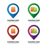 Pin set for shopping maps royalty free stock photos