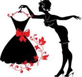 Pin sulla siluetta della donna royalty illustrazione gratis