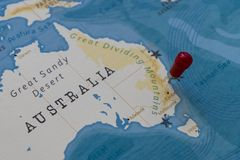 A pin on sydney, australia in the world map stock images