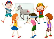 Pin the tail on the donkey. Illustration vector illustration