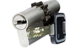 Pin-tumbler lock with the key. Close up Royalty Free Stock Photography