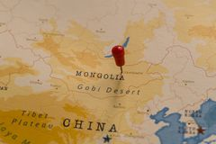 A pin on Ulaanbaatar, mongolia in the world map stock photos