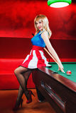 Pin-up and billiards Stock Images
