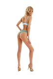 Pin-up blond in blue lingerie Stock Photography