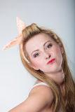 Pin up blonde fashion girl funny face Royalty Free Stock Photography