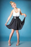 Pin-up blonde girl in full length Royalty Free Stock Image