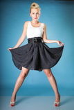 Pin-up blonde girl in full length Stock Photography