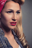 Pin up Blonde girl retro style. Blond model vintage concept Stock Photos