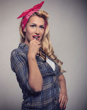 Pin up Blonde girl retro style with sunglasses Stock Images