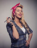 Pin up Blonde girl retro style with sunglasses Royalty Free Stock Image