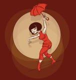 Pin-up cartoon cute ropewalker Stock Image