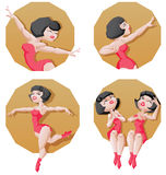 Pin-up cartoon girl circus aerial artist performace Royalty Free Stock Photos