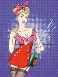 Pin-up Christmas girl with bottle of champagne Royalty Free Stock Photography