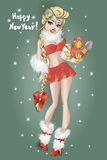 Pin-up Christmas girl with cock, Happy New Year 2017. Vector. Pin-up Christmas girl with cock, Happy New Year 2017, hand drawn  illustration Background Stock Images