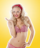 Pin up in christmas on yellow Stock Photo