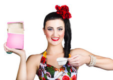 Pin up cleaning lady using laundry washing powder Stock Photo