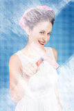 Pin up cleaning lady washing glass shower door Stock Image