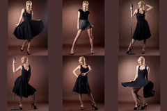 Pin-up. Collection Of Blonde Posing As Singer Stock Images