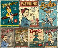 Free Pin Up Colorful Posters Set Royalty Free Stock Images - 174215249