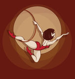 Pin up cute cartoon aerial ring artist Stock Photo