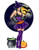 Pin up dressed up as Halloween witch on a dark sky background stock illustration