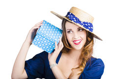 Pin up woman with gift Stock Photo