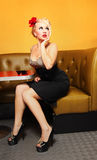Pin up girl. At a retro american diner Stock Photography