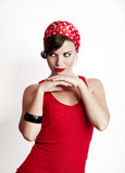 Pin-up girl. Beautiful and fashion young woman with a pin-up look Royalty Free Stock Image