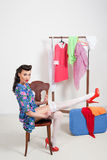 Pin-up girl. American style. Dress and white stockings Stock Images