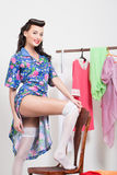 Pin-up girl. American style. Dress and white stockings Royalty Free Stock Photos